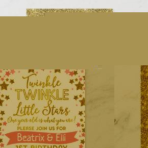 Twin Girls Twinkle Little Star Birthday Invitation