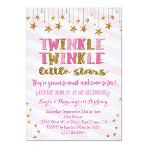Twin Girls Twinkle Twinkle Little Star Invitations