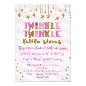 Twin Girls Twinkle Twinkle Little Star Invitation