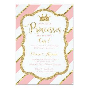 Twin Princesses Birthday Invitation, Pink, Gold Card