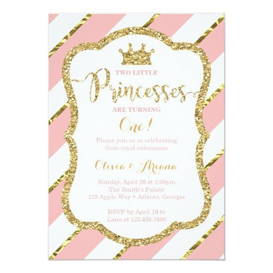 Twin Princesses Birthday Invitation Pink Gold