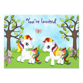 Twin Rainbow Ponies Horse Birthday Invitations