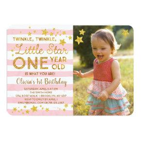 Twinkle Little Star 1st Birthday Photo Invitation