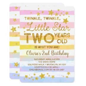 Twinkle Little Star 2nd Birthday Invitation