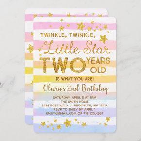 Twinkle Little Star 2nd Birthday Invitation