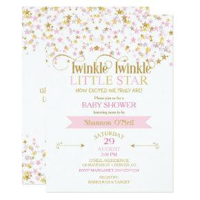Twinkle Little Star Baby Shower Pink Gold Invitations