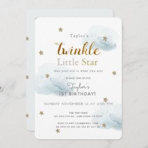 Twinkle Little Star Blue 1st Birthday Invitation