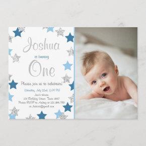 Twinkle Little Star Boy birthday invitation Blue