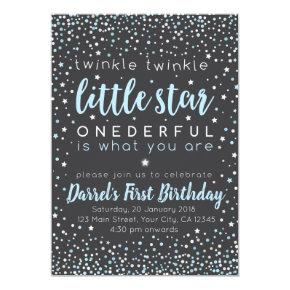 Twinkle Little Star Boy First Birthday Invitation