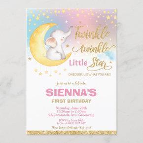 Twinkle Little Star Elephant 1st Birthday Girl Invitation