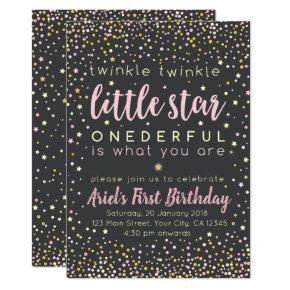 Twinkle Little Star First Birthday Invitation