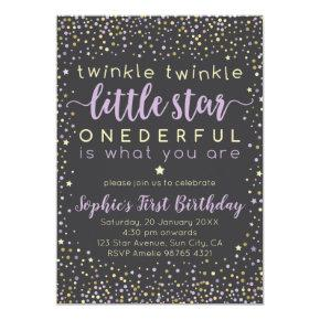 Twinkle Little Star | First Birthday Invitation