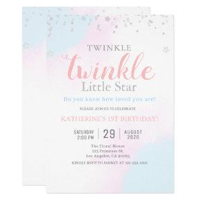 Twinkle Little Star Neutral Girl & Boy Birthday Invitation