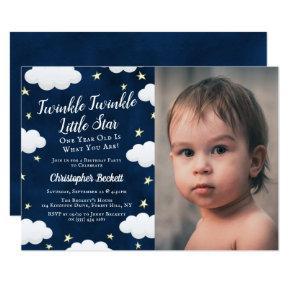 Twinkle Little Star Photo 1st Birthday Invitation