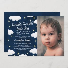 Twinkle Little Star Photo 1st Birthday Invitation