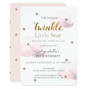 Twinkle Little Star Pink 1st Birthday Invitation