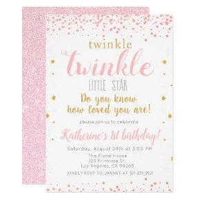 Twinkle Little Star Pink & Gold Girls 1st Birthday Invitation