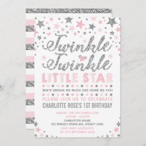 Twinkle Little Star Pink Silver Birthday Invite