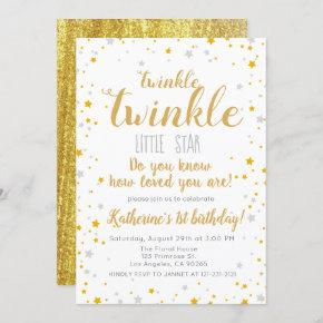 Twinkle Little Star Silver & Gold Girls Birthday Invitation