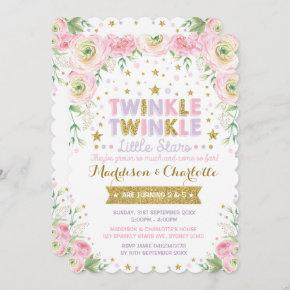 Twinkle Little Star Twins Sisters Birthday Invite