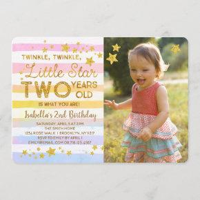 Twinkle Little Star TWO 2nd Birthday Invitation