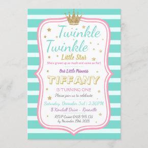 Twinkle Little Stars Princess Birthday Personalize Invitation