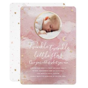 Twinkle Star 1st Birthday Invitation