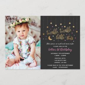 Twinkle Twinkle Little Star 1st Birthday Invite