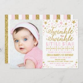 Twinkle Twinkle Little Star 1st Birthday Pink Gold Invitation