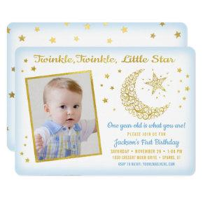 Twinkle, Twinkle, Little Star Birthday Boy Photo Invitation