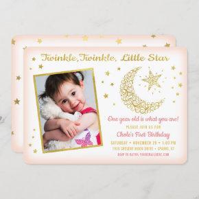 Twinkle, Twinkle, Little Star Birthday Girl Photo Invitation