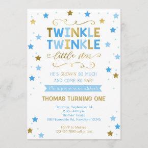 Twinkle Twinkle Little Star Birthday Invite, Boy Invitation