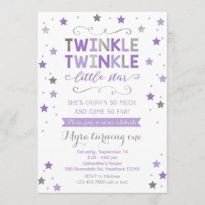 Twinkle Twinkle Little Star Birthday Invite, Girl Invitation