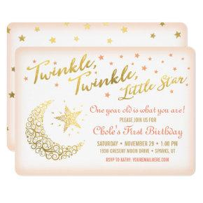 Twinkle, Twinkle, Little Star Birthday Party coral Invitation