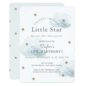 Twinkle Twinkle Little Star Blue Birthday Invitation