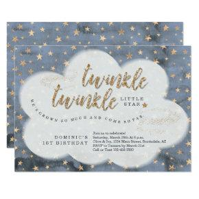 Twinkle Twinkle Little Star Boys First Birthday Invitation