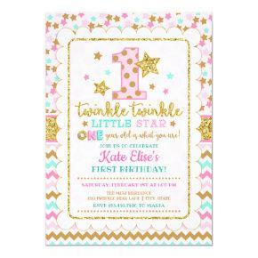 Twinkle Twinkle Little Star Girl 1st Birthday Invitation