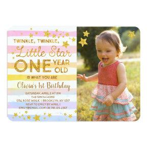 Twinkle Twinkle Little Star ONE Invitation Rainbow