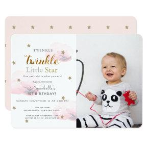 Twinkle Twinkle Little Star Photo Birthday Invitation
