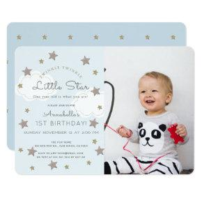 Twinkle Twinkle Little Star Photo Blue Birthday Invitation