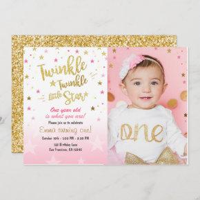 Twinkle Twinkle Little Star Pink Gold invitation