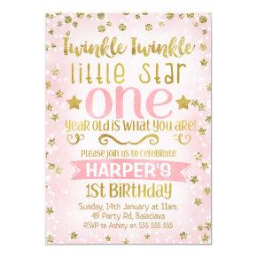 Twinkle Twinkle Star 1st Birthday Invitation