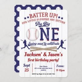 Twins, 1st birthday, Baseball Invitation