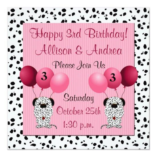 Twins 3rd birthday party invitations pink candied clouds twins 3rd birthday party invitations pink filmwisefo