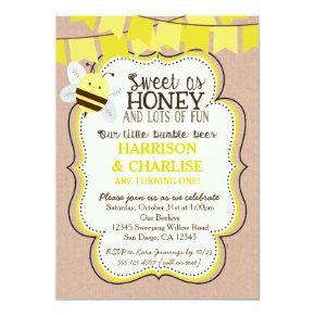 Twins Bees Bee Birthday Invitation for boy or girl