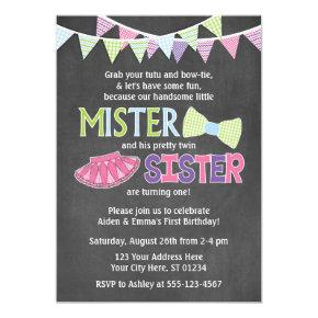Twins Birthday Invitations | Tutus and Ties Invite