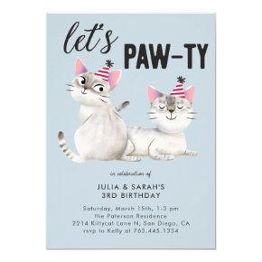 Twins Birthday Party Cat Theme Let's Pawty Invitation
