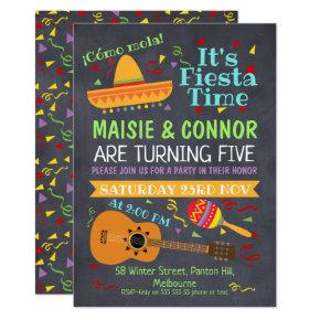 Twins Chalkboard Fiesta Birthday Party Invitations