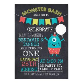 Twins Chalkboard Monster 1st Birthday Invitations
