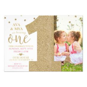 Twins First Birthday Gold & Pink Invitations